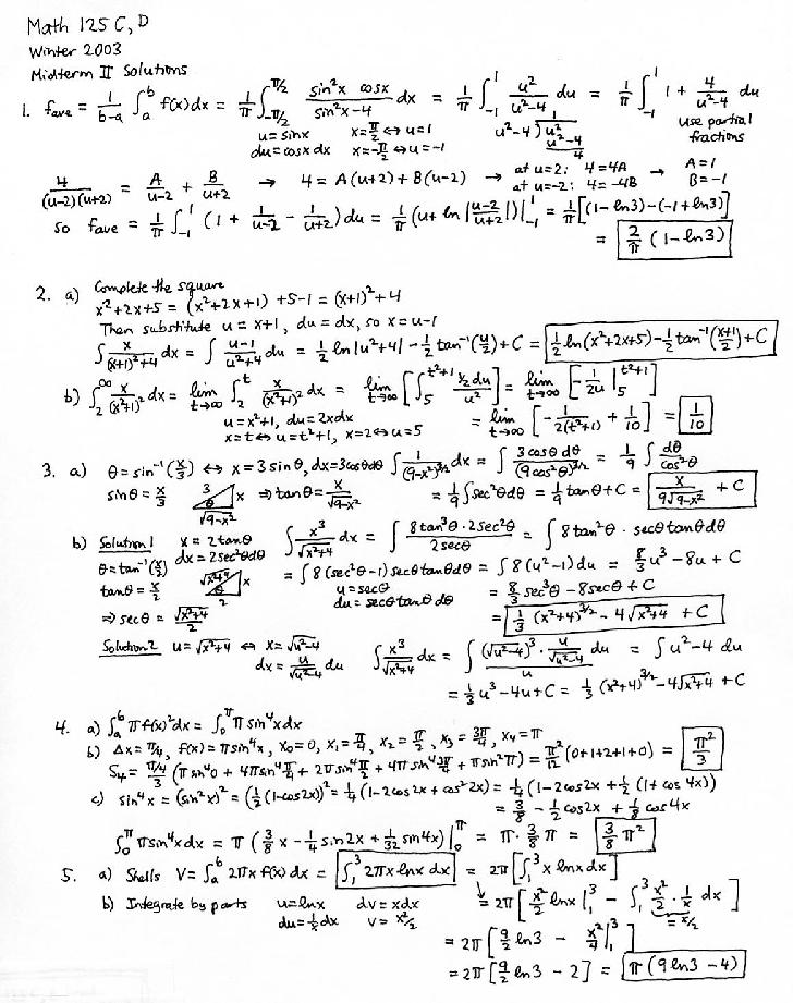 Math 125cd Calculus With Analytic Geometry Ii